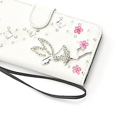 Für iPhone 7 Brieftasche Handytasche, Vandot 3D Glitzer Strass Slimfit Schutzhülle für iPhone 7 4.7 inch Handgefertigt Hülle PU Leder Book Type Flip Stand Case Cover Telefonkasten Diamant Bling Krista Diamant 09