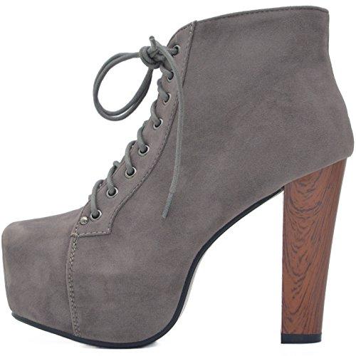 Kayla Shoes© Plateau Stiefeletten mit Absatz in Holz Optik