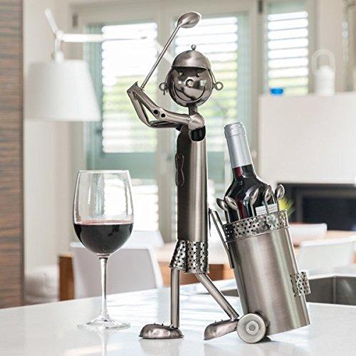 Flaschenhalter Golfspieler Metall Flaschenständer Wein Halter Metallständer