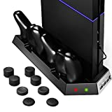 [Best Cooling Station System] Zolion Cooling Fan Cooler for PS4 Playstation, DualShock 4 Controllers with Dual Charger Ports Charging Station + 8 silicon thumb grips for Dual Shock Controllers
