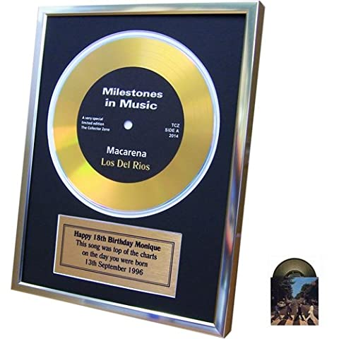 Personalised Framed Gold Record Disc Number 1 Song On The Day You Were Born and Bonus Beatles Gold Record Card (Black