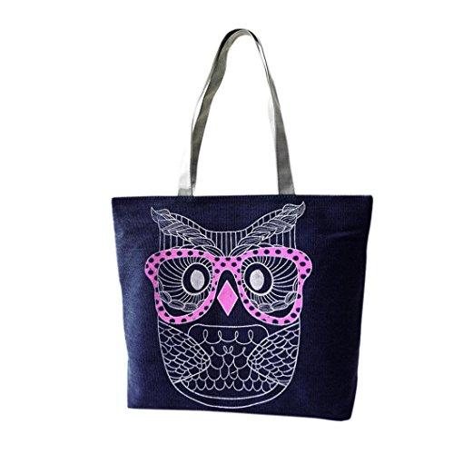 OverDose la demoiselle Sac à main de sac à main de sac à main d'épaule de sac à main de hibou Bleu