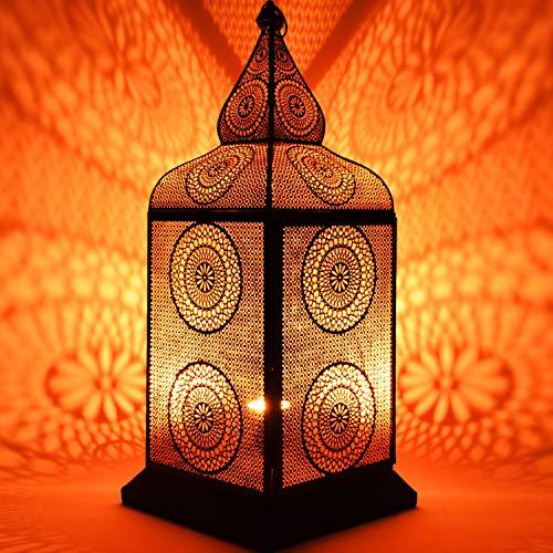Orientalische Grosse XXL Stehlampe Lampe Uhuru 75cm Schwarz E27 | Marokkanische Tischlampen Gross Metall, Lampenschirm Schwarz | Stehleuchte modern, Leuchte für Vintage, Retro & Landhaus Stil Design