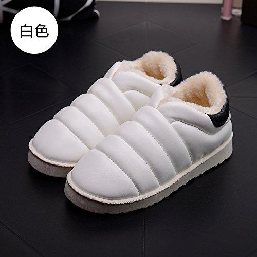 DogHaccd pantofole,Autunno Inverno slitta impermeabile coperta pantofole di cotone confezione a caldo con uomini e donne matura home soggiorno anti-slittamento pantofole spessa Bianco4