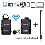 BOYA BY-WM2G Lavalier Wireless Mikrofon mit GoPro Kabel Adapter für GoPro Hero3 Hero3 + Hero4 iPhone 8 8 Plus iPad Tablet DSLR Kamera Sony Camcorder Podcast Vlogging Street Interviews Youtube Video
