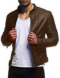 LEIF NELSON Pour des hommes veste similicuir Biker Geteppt Slim Fit Modern loisir Schwarz LN516