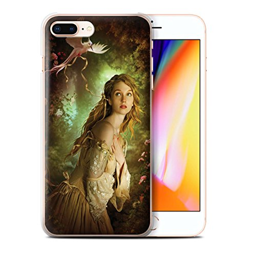 Officiel Elena Dudina Coque / Etui pour Apple iPhone 8 Plus / Hiboux d'Hiver/Arctique Design / Les Oiseaux Collection Carte Postale/Ruban