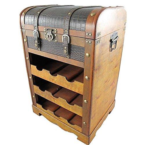 Weinregal Holz Kunstleder 70x45cm mit Aufbewahrungs-Truhe Antik-Stil mit Beschlägen -