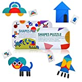 LEADSTAR Tangram Puzzle, Gioco Tangram Kids, Forme Geometriche Bambini Tangram Puzzle di Legno per Bambini Libro IQ Giocattolo Educativo Rompicapo Regalo