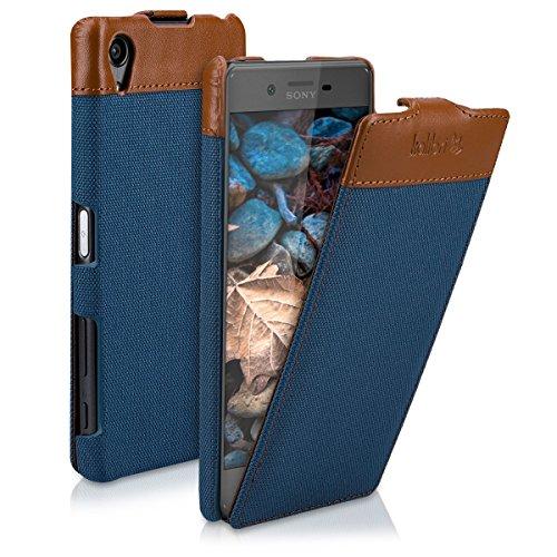 kalibri-Flip-Case-Hlle-Emma-fr-Sony-Xperia-X-Aufklappbare-Stoff-und-Echtleder-Schutzhlle-Tasche-im-Flip-Cover-Style-in-Blau-Braun
