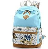 Rucksack mit Blumenmuster, lässiger Reiserucksack, Segeltuch, Schultertasche für Reisen