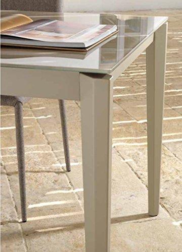 Table de jardin extensible 90/180 en aluminium blanc et ...