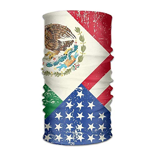 Unisex Stylish Mexico Mexican USA America Flag Quick Dry Microfiber Headwear Outdoor Magic Bandana As Neck Gaiter Head Wrap Headband Scarf Face Mask Ultra Soft Elastic One Size