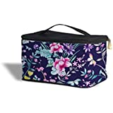 Floral Chinoiserie Navy - One Size Cosmetics Storage Case - Cosmetics Storage Case - Makeup Zipped Travel Bag