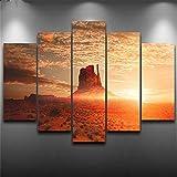 DYCHJD Moderne Leinwanddruck Wandkunst Fünf Stücke Bilder Wüste Sonnenaufgang Landschaft Poster Wohnkultur Quelle Der Wüste Malerei 20x35 20x45 20x55 cm