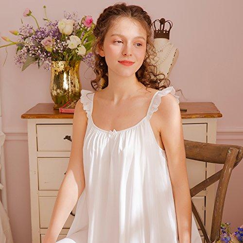 JINSHENG Pyjama Sommer - Schleuder Weste inneneinrichtungsgegenstände Kleid dünne Palace antiken Liebe Prinzessin Sommer schläft Kleid,160 (m),weiße