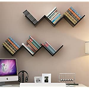 Klaxon Home Decor Wall Shelve | Book Shelf And Storage Wall Shelve Wooden W Shape - (Black,Matte Finish) (Do It Yourself – DIY)