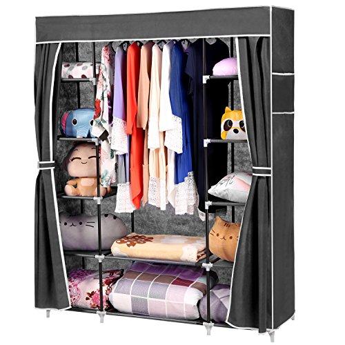 Homdox Faltbare KleiderschrankFaltschrank Garderobenschrank Garderobe Schuhregal Regale  Abdeckung Seitentaschen in 2 Farbe