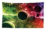 Abakuhaus Psychedelisch Wandteppich und Tagesdecke Cosmos Galaxy Nebulaaus Weiches Mikrofaser Stoff 230 x 140 cm Farben verblassen Nicht Magenta Green