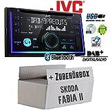 Skoda Fabia 2 Nexus Dance Swing - Autoradio Radio JVC KW-DB93BT - 2-Din DAB+ Bluetooth MP3 USB - Einbauzubehör - Einbauset
