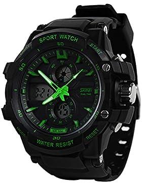 Skmei Herren Outdoor Sport Digital-Analog Dual Time Alarm Datum Chronograph Nachtlicht Multifunktional Digital...