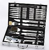 Joyeee® Posate per barbecue in acciaio INOX con valigetta in alluminio, 24 pezzi