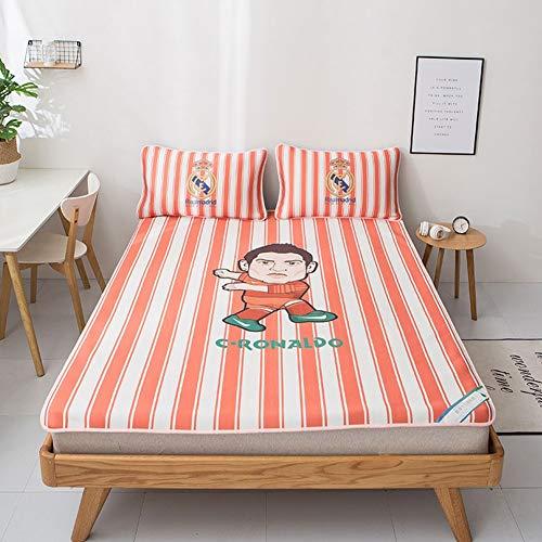 J Home textile Kid Schlafzimmer Sommer Blatt Kissenbezug Sets, Kühlung Matratze und Schlafsack Topper, voll, Königin, King Size - Fußballstar (Kühlung Matratze Königin)