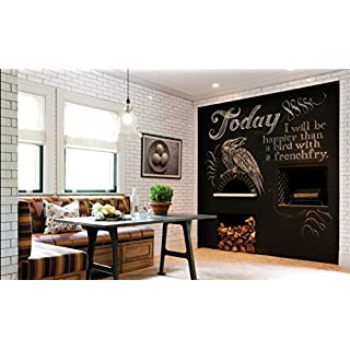 (200Black) Self-Adhesive Multi-Function Blackboard Message/Wall Sticker/Wall Decal-Vinyl Contact Paper for Restaurant Menu Board, Office Wallpaper Art Quote Home Kitchen Stickers