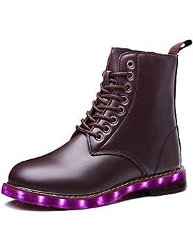 LeKuni Unisex LED Schuhe Blinkende Leuchtende High Top Light Up Stiefel Boots
