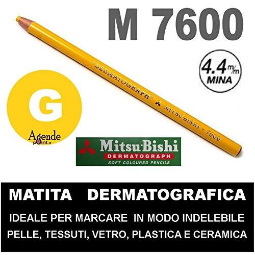 matita-dermatografica-7600-mitsubishi-gialla-n-2-matita-per-pelle-plastica-metallo-vetro