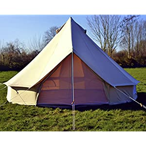 5m 100% cotton canvas bell tent with heavy duty sewn in groundsheet, camping, glamping, festival, luxury teepee