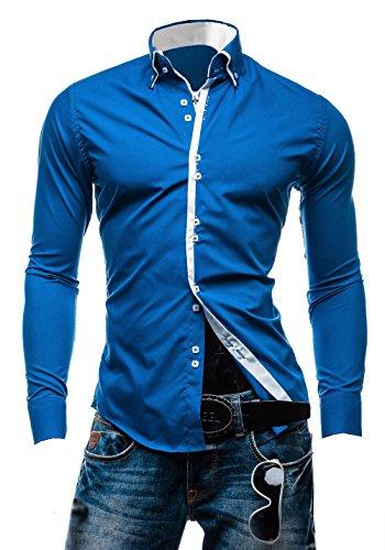 Élégant pour homme Coupe ajustée décontractée italien Double Col Chemise manches longues, M, L, XL, XXL DC12 Bleu
