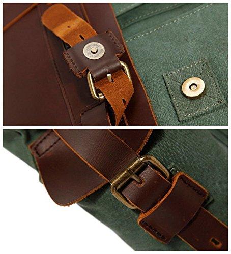 Luxus Arbeitstaschen Real Rindleder mit Canvas Retro Aktentaschen Schultertaschen Umhängetaschen (dunkel braun) grün