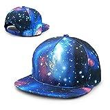 HONGYANW Unisex The Stargate Galaxy Baumwoll-Baseballkappe, Hip-Hop-Rücken, Flache Krempe, für Erwachsene, Blau