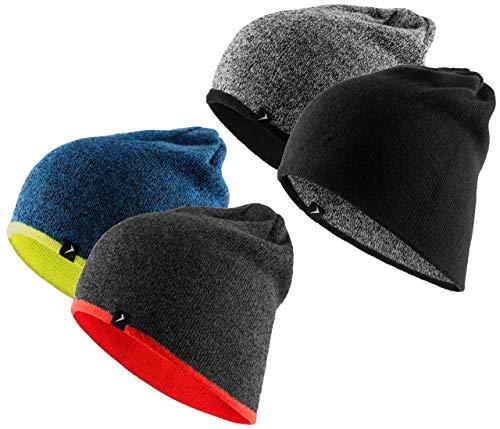 OUTDOOR Strickmütze Herren Winter Mütze beideseitige Funktionsmütze 2in1 Slouch Beanie (Schwarz, S/M) (Mens Orange Und Grau Wintermütze)