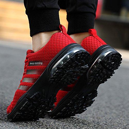 Pamray Donna Uomo Scarpe da Ginnastica Air Cushion Trekking Sportive Sneakers 3cm Lace-Up all'Aperto 36-46 Nero Blu Rosso Bianco Rosso