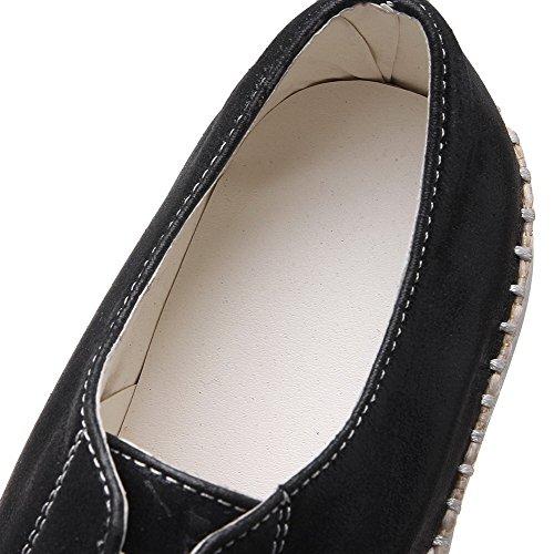 AgooLar Damen Ziehen Auf Rund Zehe Niedriger Absatz Pu Leder Gemischte Farbe Pumps Schuhe Schwarz