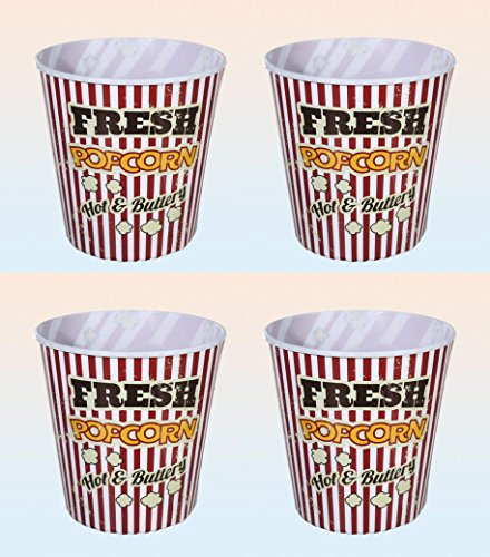 Popcorn Eimer Behälter 2800 ml für Popcorn Chips und Knabbereien US Vintage Look 4 Stück