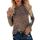 Cuello Redondo de Mujer de Manga Larga Camiseta Leopardo Superior Moda Casual Sexy Cuello Redondo Oficina Blusa Tops T Shirt riou