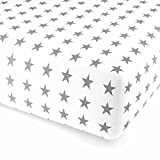F2F Stars Sterne Flanell Spannlaken Bettlaken Spannbetttuch I Größe 160x 200 cm I Farbe Weiss-Grau I kuscheliges Baumwolle Flanell