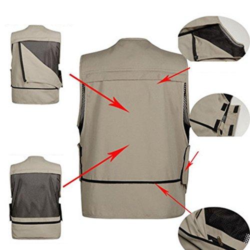 Cystyle Herren Weste Ärmellos Westen Fischen Zip Up Sport Herrenweste mit Reißverschluss Outdoor Baumwolle Jacke mit Vielen Praktischen Taschen Outwear Khaki