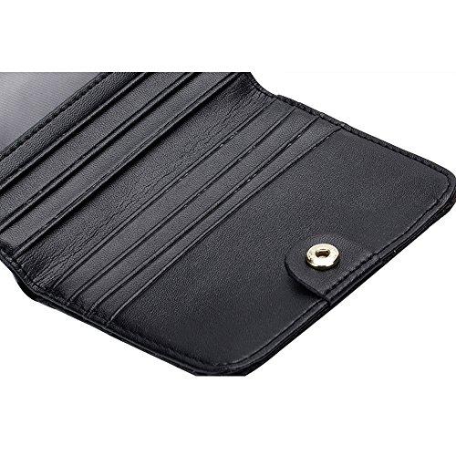 Artemis'Iris Donne Ultra Slim Compact plaid raccoglitore della tasca elegante Vera Pelle Carte Denaro Cambio dell'organizzatore del supporto di prua borsa corto, blu pink