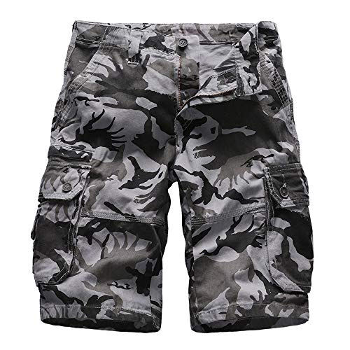 Aiserkly Herren Sommer Cargo Shorts im Freien Baumwolle Lockere Jogging Hosen Kurze Camouflage Feldhose Arbeitshose Freizeithose -
