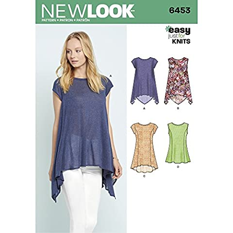New Look Schnittmuster 6453A Misses 'Easy Knit Tops,