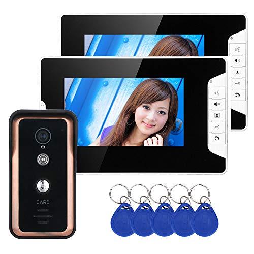 TKFY 2 Monitor 7 Zoll Farb-Video-Gegensprechanlage Türsprechanlage mit RFID-Kartenleser HD Türklingel 1000TVL IR-Cut-Kamera 7-farb-video