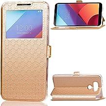 EKINHUI Case Cover Para LG G6 Funda Case horizontal Flip Stand con ventana transparente y ranuras para tarjetas y cierre magnético ( Color : Gold )