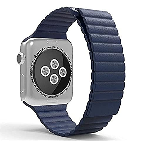 Replacement Apple Watch Band - Genuine Leather with Magnetic Buckle Lock Replacement Strap for Apple Watch 42mm Series 1 Series 2