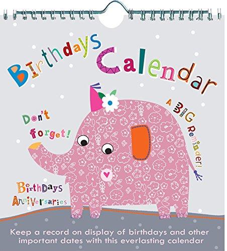 Jodds Floral de elefante eternas cumpleaños Calendario