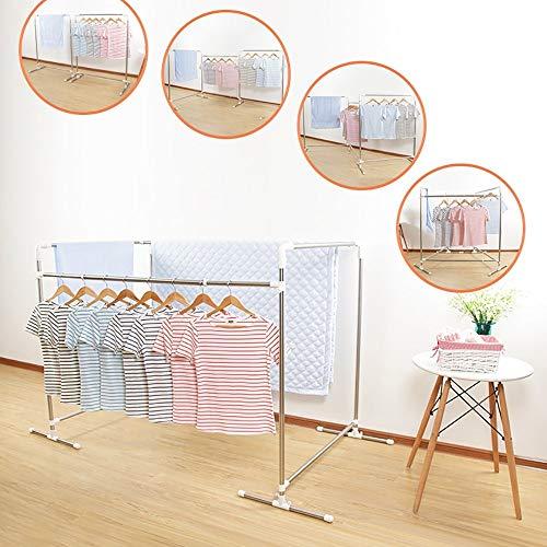 ZLL Wäscheständer Kleiderbügel Airer Doppel-Stangen-Typ Wäscheständer Teleskop-Edelstahl-Bodenständer Falten Balkon Balkon Kleiderbügel hängen Quilt Rack Wäscheständer Wäscheständer (Wandbehang-quilt-rack)
