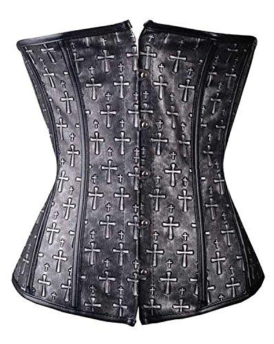 Serra dimensioni/Corsetto nero grigio a croce stile pelle sintetica Grigio